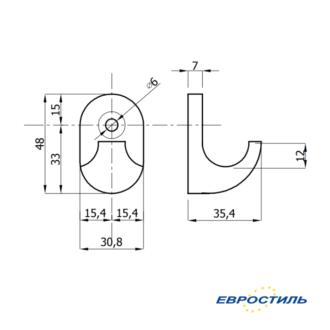 Чертеж крючка Design для одежды в раздевалки, туалетные и душевые кабины - Евростиль