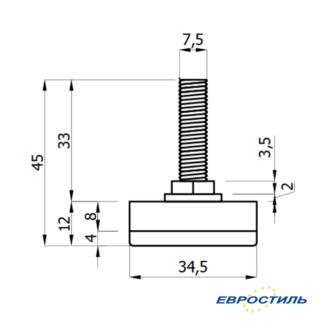 Чертеж опоры М8*35 для сантехнических перегородок и туалетных кабин Евростиль