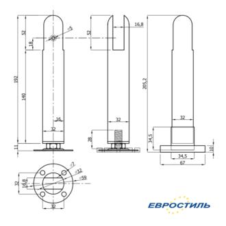 Чертеж опоры регулируемая под ЛДСП 16-18 мм для сантехнических перегородок и туалетных кабин Евростиль
