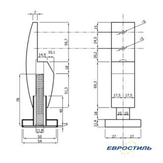 Чертеж опоры Design для сантехнических перегородок и туалетных кабин Евростиль