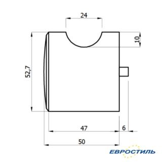 Чертеж ручки STCabine для сантехнических перегородок и туалетных кабин - Евростиль