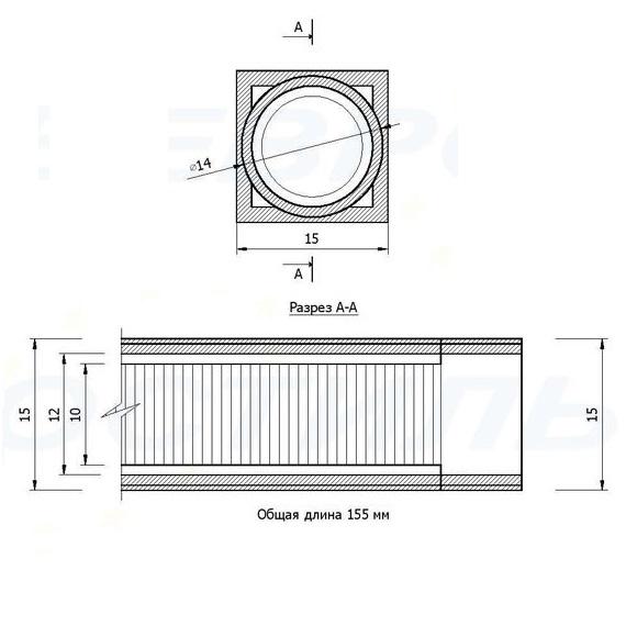 Закладная для опоры М10 дюралюминиевая