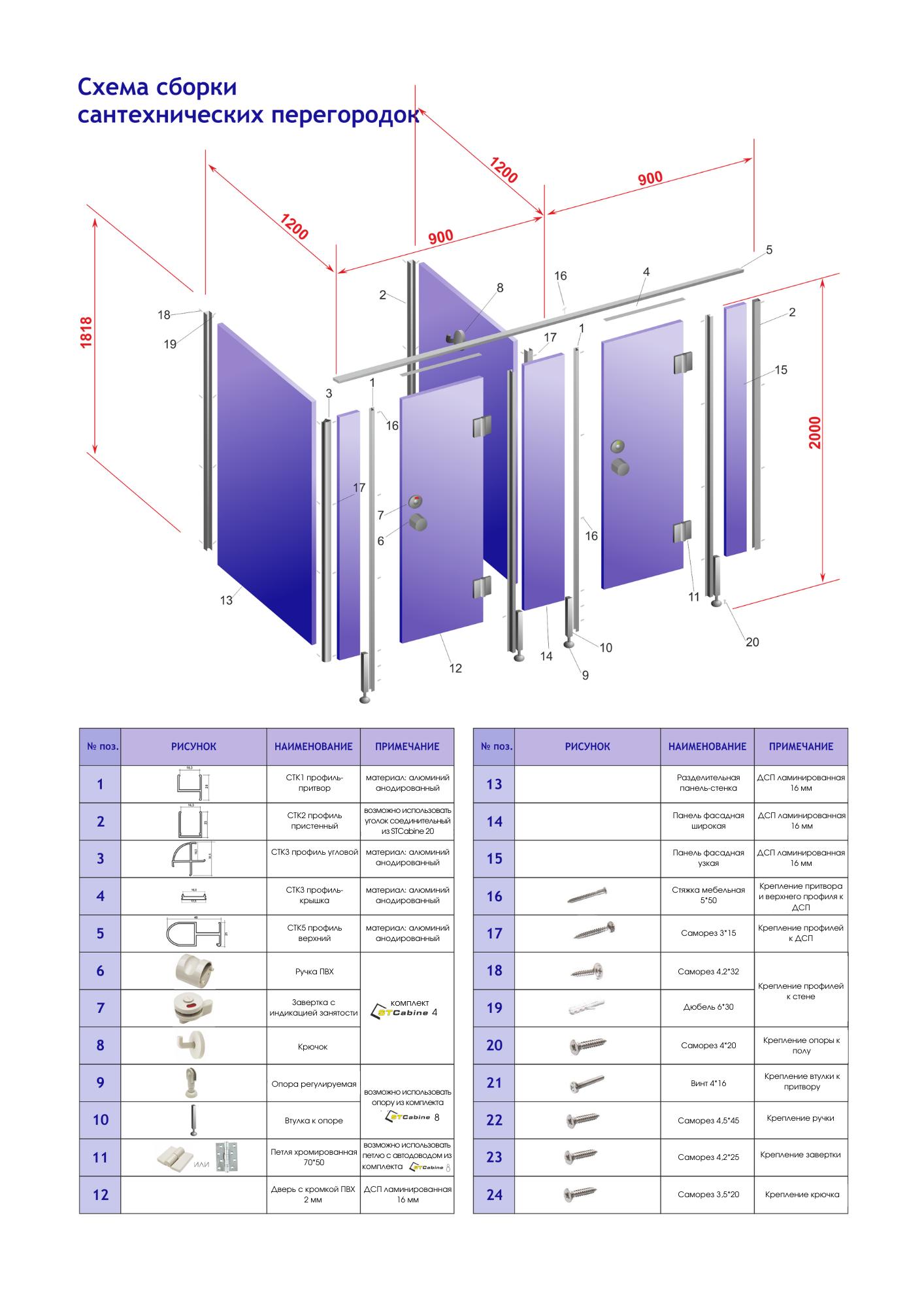 Схема установки сантехнической перегородки из лдсп Евростиль