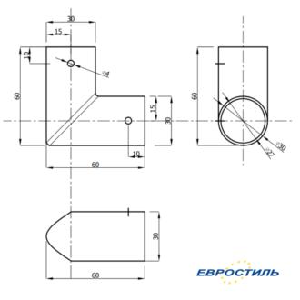 Чертеж углового элемента из нержавеющей стали для трубы 25 мм для установка сантехнических перегородок и туалетных кабин - Евростиль
