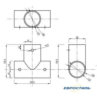 Чертеж соединительного элемента Т-образный для трубы для установки сантехнических перегородок и туалетных кабин - Евростиль