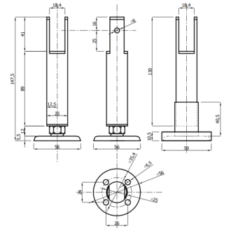 Опора для сантехнических перегородок из ЛДСП 16 мм