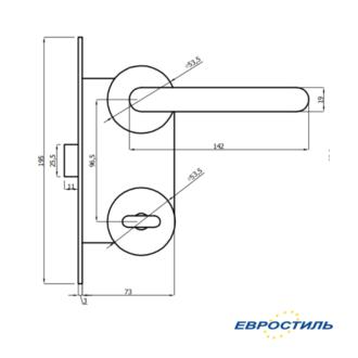 Чертеж комплекта Apecs с нажимной ручкой для сантехнических перегородок и туалетных кабин из ЛДСП 25 мм- Евростиль