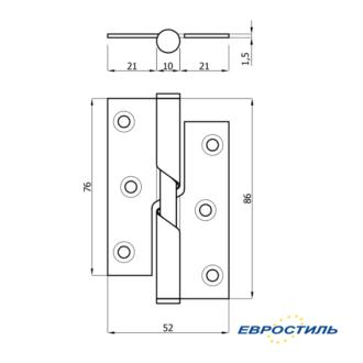 Чертеж петли 76-52 автовозвратная для сантехнических перегородок и туалетных кабин - Евростиль