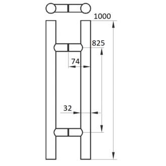 Ручка для стекла 32*1000 мм