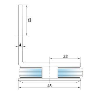 Крепеж стекло-стена 90°, цинк CR