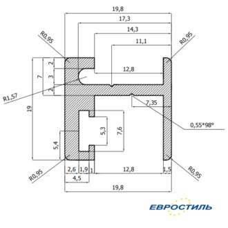 Н-профиль для туалетных кабин и сантехнических перегородок из HPL 12 мм